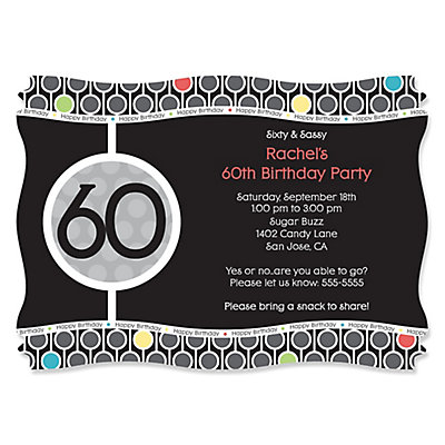 Adult 60th Birthday - Personalized Birthday Party Invitations | BigDotOfHappiness.com