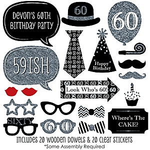 Adult 60th Birthday - Silver - 20 Piece Photo Booth Props Kit