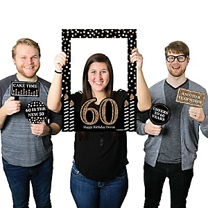 Adult 60th Birthday - Gold - Personalized Birthday Party Selfie Photo Booth Picture Frame & Props - Printed on Sturdy Material