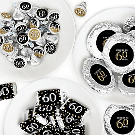 Adult 60th Birthday - Gold - Mini Candy Bar Wrappers, Round Candy Stickers and Circle Stickers - Birthday Party Candy Favor Sticker Kit - 304 Pieces