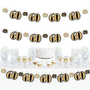 Adult 60th Birthday - Gold - Birthday Party DIY Decorations - Clothespin Garland Banner - 44 Pieces