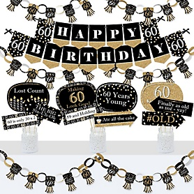 Adult 60th Birthday - Gold - Banner and Photo Booth Decorations - Birthday Party Supplies Kit - Doterrific Bundle