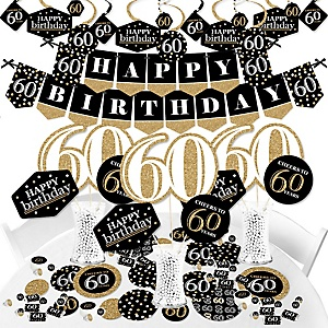 Adult 60th Birthday - Gold - Birthday Party Supplies - Banner Decoration Kit - Fundle Bundle