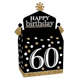 Adult 60th Birthday - Gold - Treat Box Party Favors - Birthday Party Goodie Gable Boxes - Set of 12