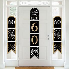 Adult 60th Birthday - Gold - Hanging Vertical Paper Door Banners - Birthday Party Wall Decoration Kit - Indoor Door Decor