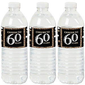 Adult 60th Birthday - Gold - Birthday Party Water Bottle Sticker Labels - Set of 20