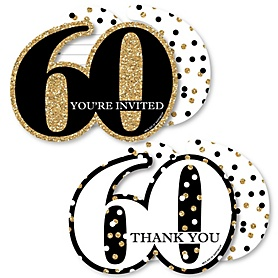Adult 60th Birthday - Gold - 20 Shaped Fill-In Invitations and 20 Shaped Thank You Cards Kit - Birthday Party Stationery Kit - 40 Pack