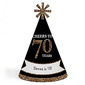 Adult 70th Birthday - Gold - Personalized Cone Happy Birthday Party Hats for Kids and Adults - Set of 8 (Standard Size)