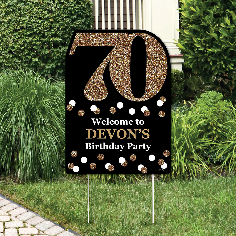 Excellent Adult 70Th Birthday Gold Party Decorations Birthday Party Personalized Welcome Yard Sign Download Free Architecture Designs Rallybritishbridgeorg