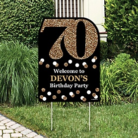 Adult 70th Birthday - Gold - Party Decorations - Birthday Party Personalized Welcome Yard Sign
