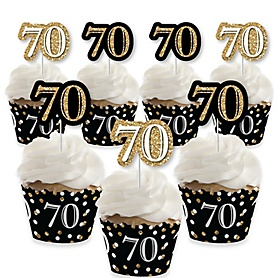 Adult 70th Birthday - Gold - Cupcake Decorations - Birthday Party Cupcake Wrappers and Treat Picks Kit - Set of 24