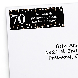 Adult 70th Birthday - Gold - Personalized Birthday Party Return Address Labels - 30 ct