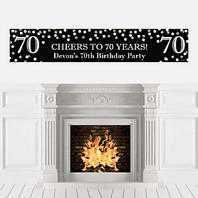 Adult 70th Birthday - Gold - Personalized Birthday Party Banner