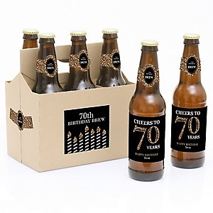 Adult 70th Birthday - Gold - Decorations for Women and Men - 6 Beer Bottle Labels and 1 Carrier - Birthday Gift