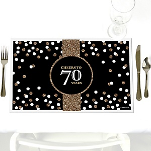 Adult 70th Birthday - Gold - Party Table Decorations - Birthday Party Placemats - Set of 12