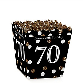Adult 70th Birthday - Gold - Party Mini Favor Boxes - Personalized Birthday Party Treat Candy Boxes - Set of 12