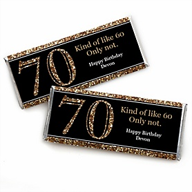 Adult 70th Birthday - Gold - Personalized Candy Bar Wrappers Birthday Party Favors - Set of 24