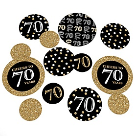 Adult 70th Birthday - Gold - Birthday Party Giant Circle Confetti – Birthday Party Decorations - Large Confetti 27 Count