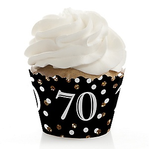 Adult 70th Birthday - Gold - Birthday Decorations - Party Cupcake Wrappers - Set of 12