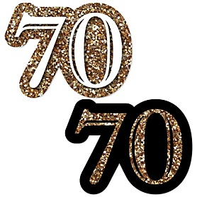 Adult 70th Birthday - Gold - DIY Shaped Party Paper Cut-Outs - 24 ct