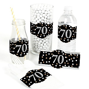 Adult 70th Birthday - Gold - DIY Party Wrappers - 15 ct