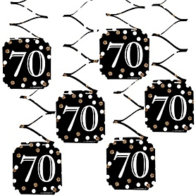 Adult 70th Birthday - Gold - Birthday Party Hanging Decorations - 6 ct