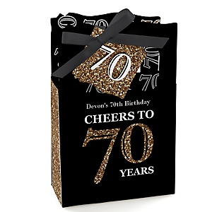 Adult 70th Birthday - Gold - Personalized Birthday Party Favor Boxes - Set of 12