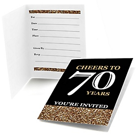 Adult 70th Birthday - Gold - Birthday Party Fill In Invitations - 8 ct