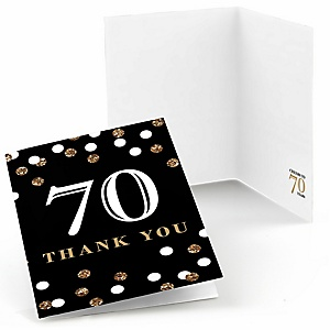 Adult 70th Birthday - Gold - Birthday Party Thank You Cards - 8 ct