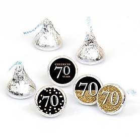 Adult 70th Birthday - Gold - Round Candy Labels Birthday Party Favors - Fits Hershey's Kisses - 108 ct