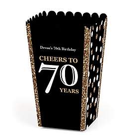 Adult 70th Birthday - Gold - Personalized Birthday Party Popcorn Favor Treat Boxes - Set of 12