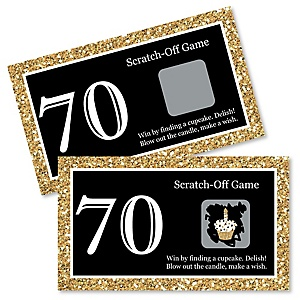 Adult 70th Birthday - Gold - Birthday Party Game Scratch Off Cards - 22 ct