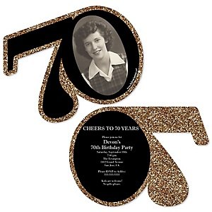 Adult 70th Birthday - Gold - Personalized Shaped Photo Birthday Party Invitations - Set of 12
