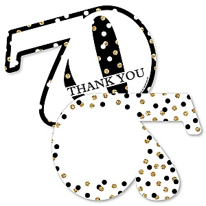 Adult 70th Birthday - Gold - Shaped Thank You Cards - Birthday Party Thank You Note Cards with Envelopes - Set of 12