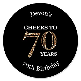 Adult 70th Birthday - Gold - Personalized Birthday Party Sticker Labels - 24 ct