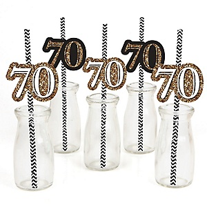 Adult 70th Birthday - Gold - Paper Straw Decor - Birthday Party Striped Decorative Straws - Set of 24