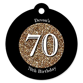 Adult 70th Birthday - Gold - Round Personalized Birthday Party Tags - 20 ct