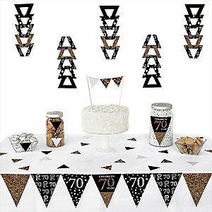 Adult 70th Birthday - Gold -  Triangle Birthday Party Decoration Kit - 72 Piece