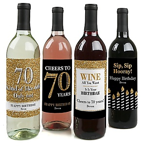 Adult 70th Birthday - Gold - Custom Wine Bottle Label Birthday Party Gift - Set of 4