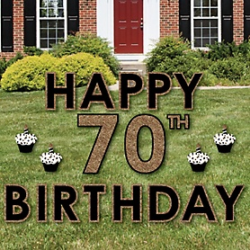 Happy 70th Birthday - Gold - Yard Sign Outdoor Lawn Decorations - Adult 70th Birthday Yard Signs