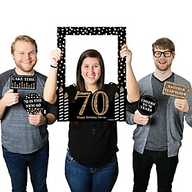 Adult 70th Birthday - Gold - Personalized Birthday Party Selfie Photo Booth Picture Frame & Props - Printed on Sturdy Material