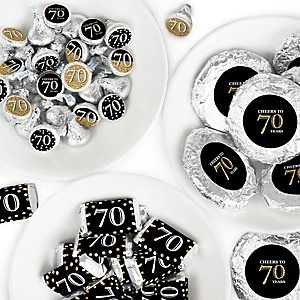 Adult 70th Birthday - Gold - Mini Candy Bar Wrappers, Round Candy Stickers and Circle Stickers - Birthday Party Candy Favor Sticker Kit - 304 Pieces