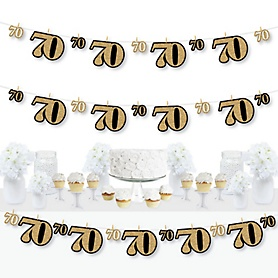 Adult 70th Birthday - Gold - Birthday Party DIY Decorations - Clothespin Garland Banner - 44 Pieces