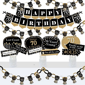 Adult 70th Birthday - Gold - Banner and Photo Booth Decorations - Birthday Party Supplies Kit - Doterrific Bundle