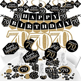 Adult 70th Birthday - Gold - Birthday Party Supplies - Banner Decoration Kit - Fundle Bundle