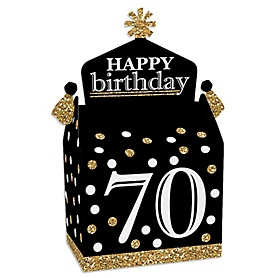 Adult 70th Birthday - Gold - Treat Box Party Favors - Birthday Party Goodie Gable Boxes - Set of 12