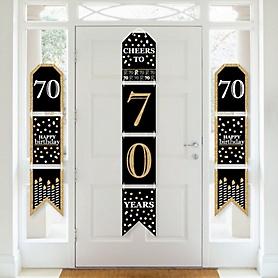 Adult 70th Birthday - Gold - Hanging Vertical Paper Door Banners - Birthday Party Wall Decoration Kit - Indoor Door Decor