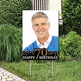 Adult 70th Birthday - Gold - Photo Yard Sign - Birthday Party Decorations