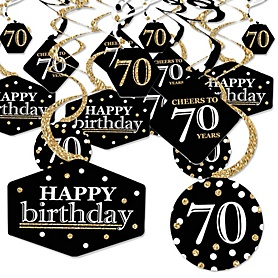 Adult 70th Birthday - Gold - Birthday Party Hanging Decor - Party Decoration Swirls - Set of 40