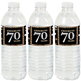 Adult 70th Birthday - Gold - Birthday Party Water Bottle Sticker Labels - Set of 20